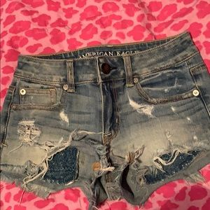 American Eagle light color high-rise Jean shorts.